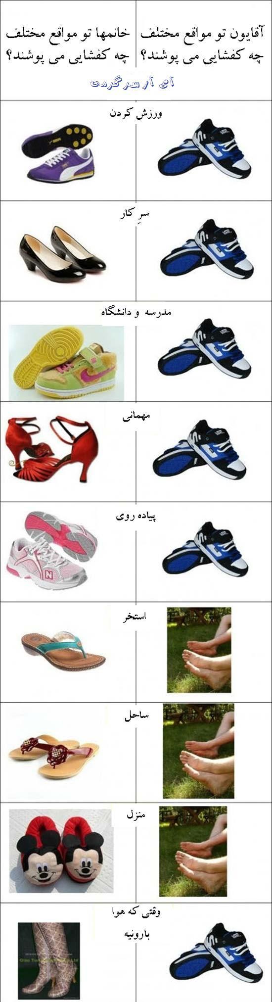 آقایون و خانمها در مواقع مختلف چه کفشایی می پوشند؟